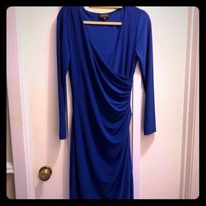 Tahari Royal blue faux wrap dress
